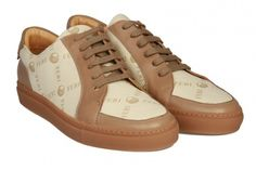 Get Paid to wear FERI High end sneakers-FERI - Janie Shoes - beige Monogram - FERI Monogram Ladies laced Sneakers - Made with Signature pattern printed coated canvas - Genuine leather insole & trim - Colour: Beige Monogram - FERI logo hardware on tongue