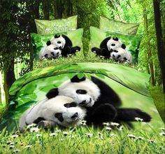 Animal Two Lovely Panda Print Bedding Set, Cotton Queen Size Bedding Sets, with Duvet Cover, Bed Sheet, Case(comforter Not Included) 3d Bedding Sets, Cotton Bedding Sets, Queen Bedding Sets, Bed Linen Sets, Cotton Duvet, Comforter Sets, Cotton Fabric, Double Duvet Covers, Duvet Cover Sets