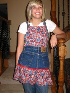 Cute apron with repurposed jeans.