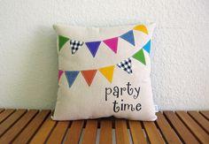 Party Time Party Flag applique pillow