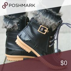 Available now! Black duck boots with fur. Black duck boots with fur and side zipper. Water proof and slip proof.  Perfect for rain or snow. Get yours today... next day shipping Shoes Winter & Rain Boots