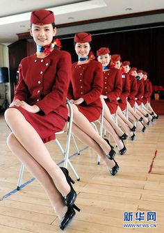Air China Stewardess Training Program - flight attendant uniforms
