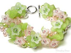 Country Cottage Garden Green & Pink Flower Swarovski Crystal Pearl Cluster Charm Bracelet, New Acrylic Flower Charm, Summer Wedding Jewelry