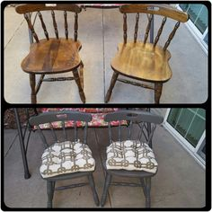 Two Goodwill Chairs Covered With My Favorite Waverly Chalk Paint (color  Elephant) From Walmart
