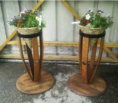 Oak barrel stave plant pedestals. https://www.facebook.com/oakbarrelcreations.uk