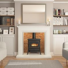 New Pic Fireplace Remodel marble Ideas The Elgin and Hall Odella surround is extremely versatile. Whether you want your home to be equippe ideas log burner Wood Burner Fireplace, Inglenook Fireplace, Home Fireplace, Marble Fireplaces, Fireplace Remodel, Living Room With Fireplace, Fireplace Surrounds, New Living Room, Home And Living