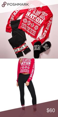 VS Pink Nation holiday outfit Brand new crop top and leggings, both size small. NO TRADES PINK Victoria's Secret Tops Tees - Long Sleeve