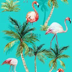wallpaper XXL Flamingos 158609 #ESTAhome #behang #tropical #tropisch #palmbomen #turquoise #vogels #birds #zomer #ESTA