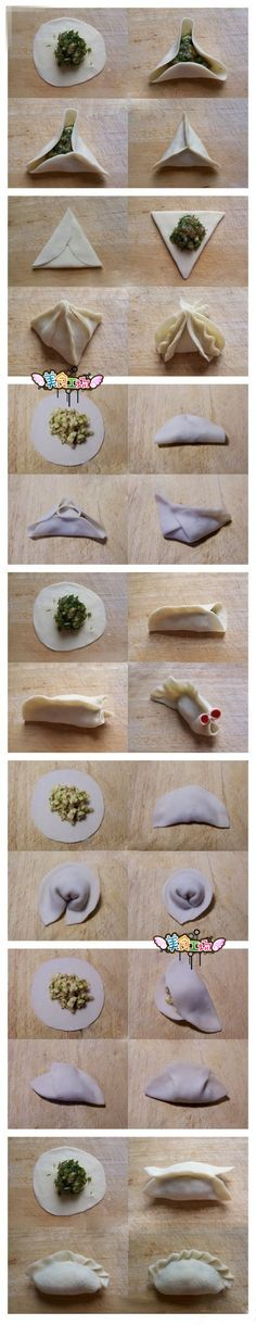 7 ways to fold a dumpling. For when we make Diedrich potstickers I Love Food, Good Food, Yummy Food, Asian Cooking, Dim Sum, Creative Food, Chinese Food, Food Hacks, Asian Recipes