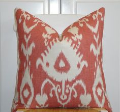 Kravet - Decorative Pillow Cover - 20 x 20 - IKAT Pattern - Throw Pillow - Accent Pillow - Coral/Red. $45.00, via Etsy.