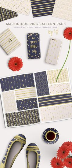 Gold and Navy Blue Patterns Pack. Printables. $5.00