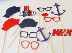 Have a blast with these Nautical Photo Props Set of 12 glued on a 12 stick, includes: 3 Sailor hat 1 All aboard sign 1 Ahoy sign Baby Shower Parties, Baby Shower Themes, Baby Shower Decorations, Sea Decoration, Shower Ideas, Photos Booth, Photo Booth Props, Birthday Gifts For Boyfriend, Best Birthday Gifts