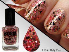 Dirty Pink (115) - Glitter Nail Polish - Nail Art - Valentine Nails - Valentines Day Nails