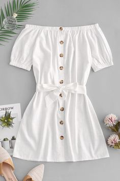 Button Up Off Shoulder Mini Dress - White S Source by joyceqmiranda clothes fashion moda White Dress Summer, White Mini Dress, Striped Dress, Outfit Summer, White Spring Dresses, Casual Summer, White Lace, Winter Dresses, Yellow Dress