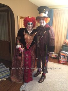 Great Red Queen and Mad Hatter Couple Costume... Coolest Halloween Costume Contest