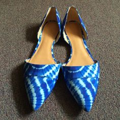 J.crew factory tie-dye flats Blue tie-dye pointed toe flats. Never worn! Satin type material. Super cute but I bought them too small. Run true to size J.Crew Factory Shoes Flats & Loafers