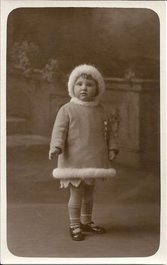 Winter girl, Art Deco child, studio portrait, fur trim jacket, vintage fashion, social history, smashbook supply, scrapbook art (rppc/ch69)