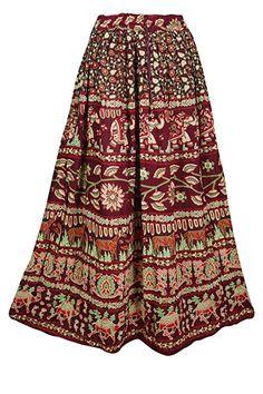 fe37e1c294 Mogul Interior Women's Maxi Skirt Maroon Animals Print Cotton Long Bohemian  Gypsy Skirts S/M at Amazon Women's Clothing store: