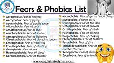 Fears & Phobias List