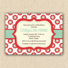 Red Sunflower Bridal Shower Invitations
