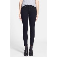 RAG & BONE/JEAN 'The Skinny' Stretch Jeans ($130) ❤ liked on Polyvore featuring jeans, dark wash skinny jeans, stretch skinny jeans, dark denim jeans, dark skinny jeans and skinny fit jeans