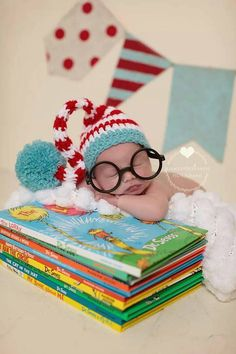 Adorable Crochet Dr Seuss Elf Hat with Pom Pom in Red & White Stripe with turquoise trim and Pom Pom ! Christmas Colors Available! Last