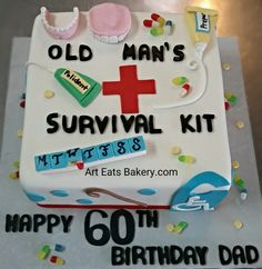 Old Mans Survival Kit Custom 60th Birthday Cake Design With Edible Dentures Pills Capsules Ointments Cane And Handicap Sign