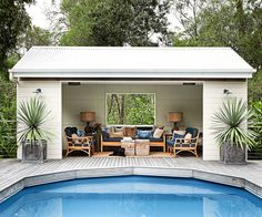 At whatever point you're in a poolside or at the shoreline, a standout amongst the best approaches to unwind is to lie on a pool lounge seat. Pool lounge chairs are dependably a decent thing to have, on the grounds… Continue Reading → Pool Gazebo, Backyard Pool Landscaping, Backyard Patio Designs, Swimming Pools Backyard, Swimming Pool Designs, Luxury Swimming Pools, Small Pool Houses, Small Pools, Small Backyards