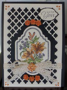 """Spellbinders """"Vintage Labels 2"""" with a Spellbinders Lattice behind and """" Floral Vintage Label 2"""" Justrite Stamp."""