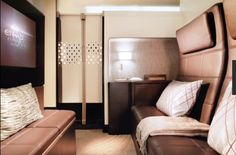 Etihad's new A380 upper deck holds 'the Residence'- a private multi room cabin. Living room has reclining sofa upholstered by Poltrona Frau, a mini bar, marquetry dining table & a dedicated Butler on call throughout the flight. Nice!