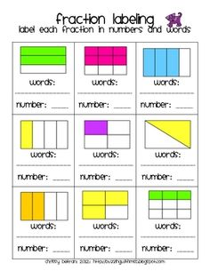 Identify the rectangular fractions in words and numbers.  Answer Key included.  Cut & glue to match the fraction label with the fraction picture  Could create a Kidspiration file for this