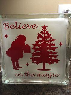 Christmas Glass Block- Believe in Magic