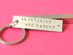 Toy Story Inspired - To Infinity and Beyond Keychain  - Hand Stamped  Aluminium Key Chain sur Etsy, $11.69 CAD