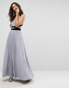 ASOS PREMIUM Tulle Maxi Prom Dress With Velvet Ties. simple and elegant