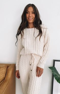 Cable knit jumper   Perfect for lounging  Slouchy fit    Soft cable knit   Long sleeves