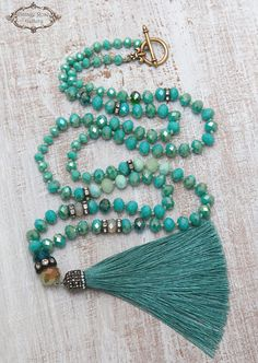 Aqua Silk Tassel Necklace Boho Tassel Necklace Turquoise