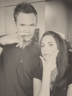 Joel McHale & Alison Brie on the set of Community.