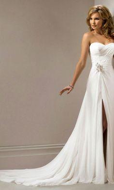 beach wedding dress, love the slit - Ashley