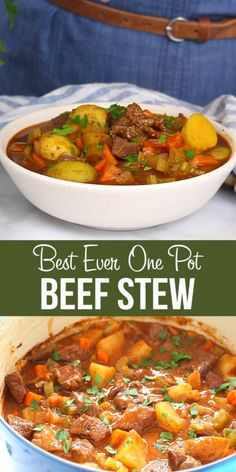 This Best Ever One Pot Beef Stew recipe is a deliciously easy classic beef stew recipe that slow cooks to perfection on the stove top and in the oven. It's comfort food at its finest and it's incredibly flavourful – perfect for a cold day! Slow Cooker Recipes, Cooking Recipes, Healthy Recipes, Slow Cook Beef Recipes, Recipes For Stew Meat, Beef Broth Soup Recipes, Stewing Beef Recipes, One Pot Recipes, Crockpot Vegetable Beef Soup