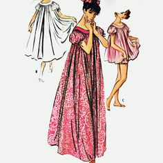 50s Vintage Nightgown Pattern / Womens Lingerie Pattern / Caftan Pattern 3 Lengths / Babydoll Nightgown Pattern / McCalls 4610 Size Small. $18.00, via Etsy.