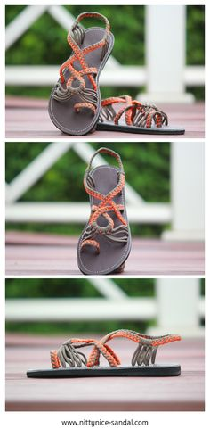Playful paracord sandals in orange and grey.