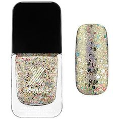 Sparklers Nail Polish Formula X for Sephora 0.4 Oz Light My Fire - Champagne and Rainbow 3d Glitter