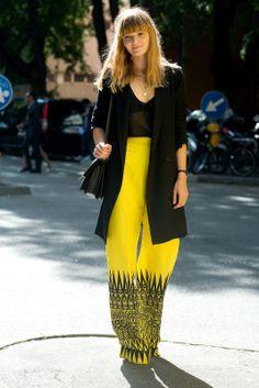 Street Style Inspiration Yellow Graphic Print Pants Long Line Black Blazer Jakcet Sheer Tee Celine Shoulder Box Bag Wide Leg Yellow Pant Graphic Tribal Black Print Hem Fashion Week