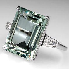 Stunning bling ! : Vintage Natural Prasiolite Cocktail Ring w Diamonds Solid 14k White Gold Fine   eBay