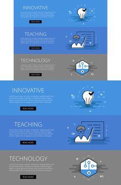 Innovative Teaching Tech banner set. Web Elements. $3.00
