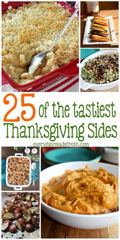 Whether you're hosting Thanksgiving or just taking a side dish, we have 25 of the Tastiest Thanksgiving Side Dishes; from potatoes to casseroles, and roasted vegetables, there is something for everyon (Halloween Essen Salat) Best Thanksgiving Recipes, Thanksgiving Dinner Recipes, Hosting Thanksgiving, Thanksgiving Side Dishes, Holiday Dinner, Happy Thanksgiving, Thanksgiving Turkey, Happy Fall, Holiday Side Dishes