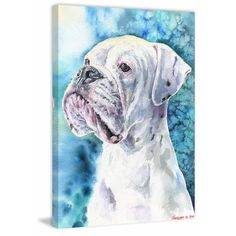 White Boxer by George Dyachenko is printed with premium inks for brilliant color and then hand-stretched over museum quality stretcher bars. Money Back Guarantee AND Free Return Shipping. White Boxer Dogs, White Boxers, Dog Paintings, Original Paintings, Awesome Paintings, Watercolor Print, Watercolor Paintings, Watercolor Techniques, Canvas Art Prints