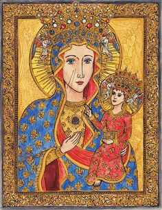"""Regina Poloniae by ~Theophilia on deviantART ~ """"Our Lady of Częstochowa: Queen of Poland"""" ~ Finished: August 25th, 2009 ~ Pencil, india ink, watercolor pencils"""