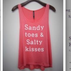 Sandy Toes & Salty Kisses Tank 95% Rayon 5% Spandex Made in USA Tops Tank Tops