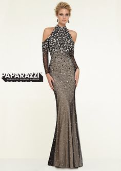 Prom Dresses – Paparazzi Prom Dresses fashion forward unique prom dress with high neck, open shoulders, and long sleeves. Beaded prom dress